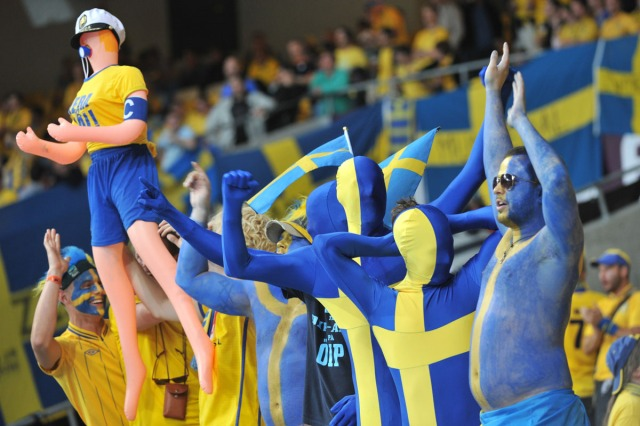 Swedish fans cheer before the Euro 2012